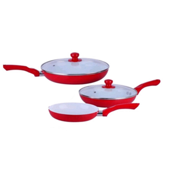 GMY High Quality Ceramic Non-Stick Pan 5-pieces Set (Red)