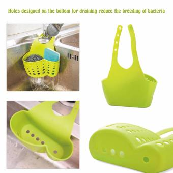 GMY Kitchen Sink Shelving Bag Dish Cloths Rack Suction SpongeHanging Drain Holder (Green)