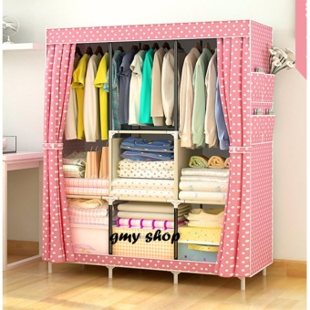 GMY Large Size Quality Fashion Simple Multifunction Cloth WardrobeStorage Cabinets C-77130 (PinkDot)