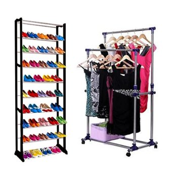 GMY Quality Amazing Shoe Rack (Black) With Adjustable Double RailGarment Rack with Shoes Shelf on Wheels