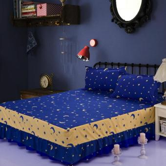 GoGoLife Single/Full/Queen/King Size High Quality Cotton Bed Skirt Bedsheets Bed Cover Star&Moon-16# NavyBlue