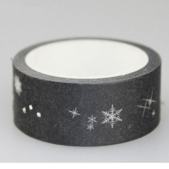 Gold Foil Printing For Christmas Set Japanese Washi Paper Tape 15mmX5m o 001Silver - intl