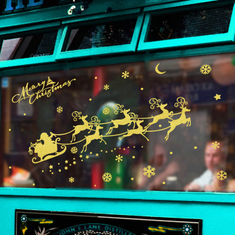Gold mall shop glass window Christmas decorations