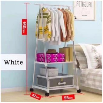 Gonzalez Multipurpose Durable Cloth Rack (White) with High QualitySrew Assemble 4 Layers Stainless Steel Stackable Shoe Rack - 2