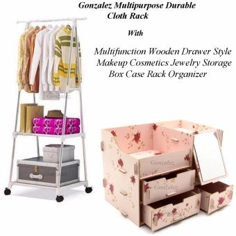 Gonzalez Multipurpose Durable Cloth Rack (White) with MultifunctionWooden Drawer Style Makeup Cosmetics Jewelry Storage Box Case RackOrganizer (Light Pink)