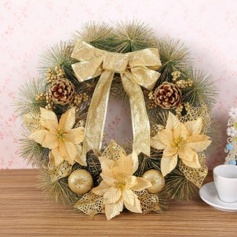 GOOD 40cm Dia Christmas Wreath Bow Pine Needle Christmas DecorationFor Home Party Green&Yellow - intl Price Philippines