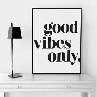 """Good Vibles Only"" Quote Wall Art Print Poster, Wall Pictures ForHome Decoration, Frame Not Include Canvas Art FA143 Price Philippines"