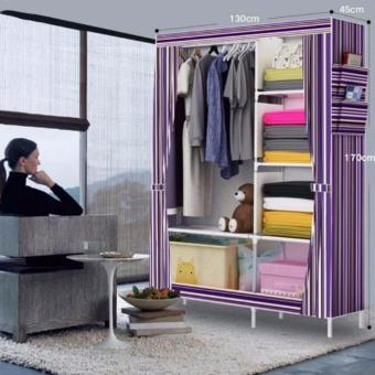 Greatnes 2323 Stripes Storage Wardrobe and Clothes Organizer(Violet)