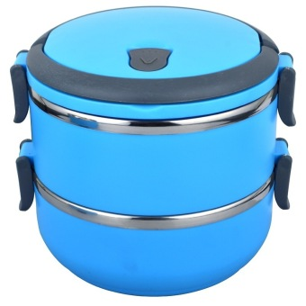 Greatnes D&D BSS-69 Stainless Steel Thermal Box and Bento Box Two Layers (Blue)