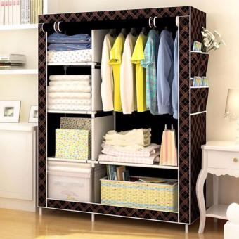 Greatnes XZY 1312 Storage Wardrobe and Clothes Organizer (Chocolate)