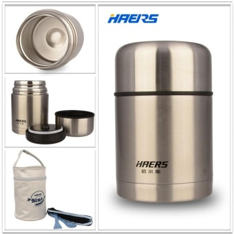 Haers 750ml Insulated Food Jar With Bag Double Stainless SteelInsulated Hot Food Thermos Lunch Box F HTH-750A (Silver) - intl