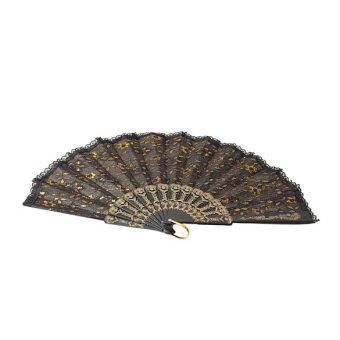 Hand Fan for Dancing Party Wedding Stage Performance with Shining Gold Silk - picture 2