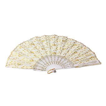 Hand Fan with Shining Gold Silk for Dancing Wedding Stage Performance White