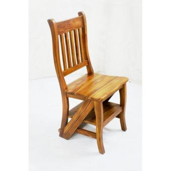 Handcrafted Solid Teak Wood Convertible Dual Purpose Ladder Chair Accent  Furniture (Gold Teak Series