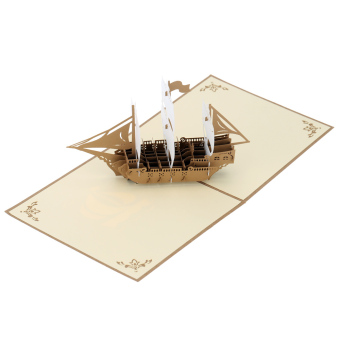 Handmade 3D Pop Up Christmas Birthday Card Kirigami Hollow Folding Greeting Birthday Xmas Postcard with Envelope Vintage Sailing Boat Design - picture 2