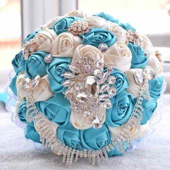 Handmade Satin Roses Flower Pearl Brooch Crystal Chain WeddingBridal Bouquet - intl - 2