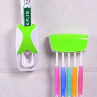 Hands Free Toothpaste Dispenser Automatic Toothpaste Squeezer andHolder Set (Green)