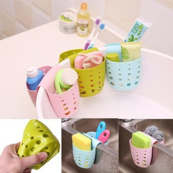 Hanging Home Kitchen Sponge Drain Bag Basket Bath Storage Tools Sink Holder (Green) - intl