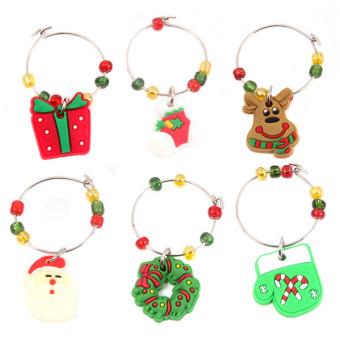 Hanyu Christmas Decoration Wine Glass Pandent 6Pieces #2 Multicolor