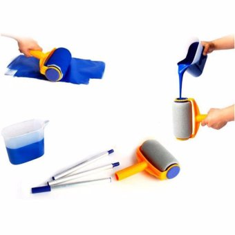 Hanyu Multi-function Handle Paint Roller Set Painting Brush Point N Paint Household Decorative Tool(White+Orange) - intl