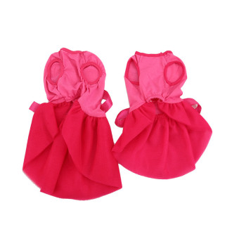 Hanyu Pet Dogs Puppy Butterfly Corsage Puff Tutu Dresses Costumesfor Pets Dogs S Rose Red - intl - 2