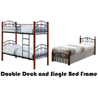 Hapihomes Asteroid Double Deck Bed with Mabley (Single)36'x75' BedFrame Black/Brown Price Philippines