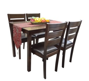 Hapihomes Hanson 4-Seater All Wood Dining Set (Brown) Price Philippines