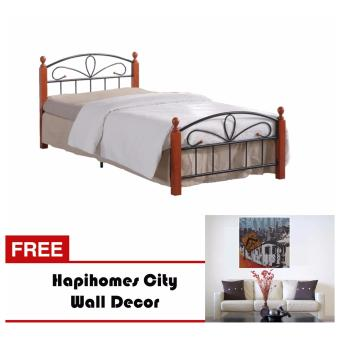 Hapihomes hilton 54 x 75 bed frame w city wall decor for Bed frame wall decal
