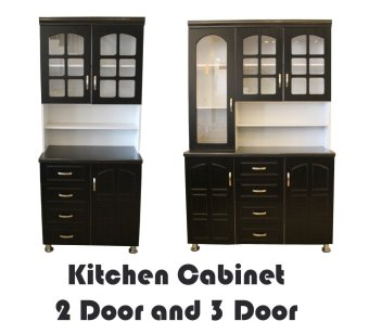 Hapihomes Morris 2-door And 3-Door Kitchen Cabinet (Black/White)