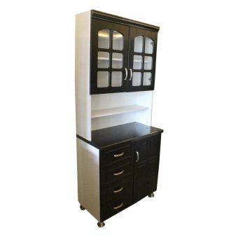 Hapihomes Morris Kitchen Cabinet (Black/White) - 2