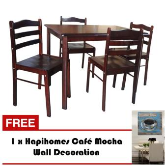 Hapihomes Starter 4-Seater Dining Set with Coffe Mocha Wall Decor Price Philippines