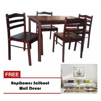 Hapihomes Starter 4-Seater Dining Set with SailBoat Wall Decor Price Philippines