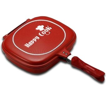Happy Cook Aluminum Double-Sided Grill Pan 32cm (Red)