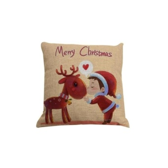 HappyLife Square Christmas Pillowcase Throw Pillow Case Home Decorsofs Cushion Cover Pattern C - intl
