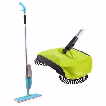 Healthy Spray Mop with Removable Washable Cleaning Microfiber Pad(Blue) with 360 Rotary Home Use Magic Manual Telescopic Floor DustSweeper