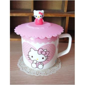 Hello Kitty Ceramic Mug with Silicon Lid Cover