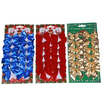 HengSong Christmas Decoration Non-woven Bowknot Gold - picture 2