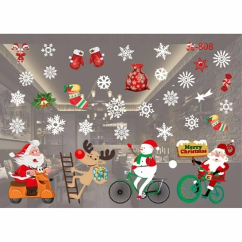 HengSong Christmas Window Stickers Wall Sticker Christmas SantaClaus Glass Windows Transparent Film Wall Stickers Shop Home DecalDecor #808 - intl