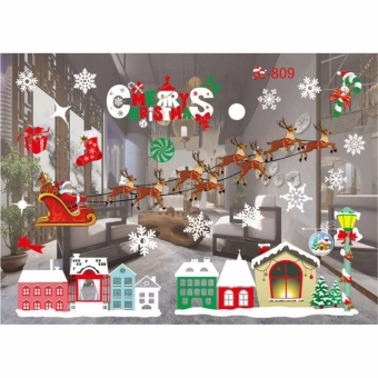 HengSong Christmas Window Stickers Wall Sticker Christmas SantaClaus Glass Windows Transparent Film Wall Stickers Shop Home DecalDecor #809 - intl