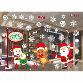 HengSong Christmas Window Stickers Wall Sticker Christmas SantaClaus Glass Windows Transparent Film Wall Stickers Shop Home DecalDecor #811 - intl