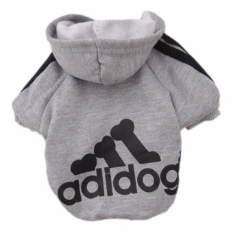 HengSong Dog Pet Cat Sweater Hoody Coat Jacket Puppy clothes S(Grey) - intl