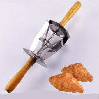 HengSong New Wooden Handle Stainless Steel Croissant Bread Making Tool Triangle Rolling Dough Cutter - intl