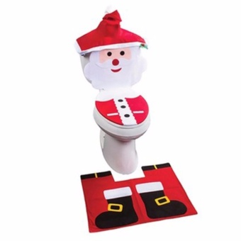 HengSong Santa Claus toilet seat cover of old public toilet seatwith toilet cover with water tank cap + towel cover - intl