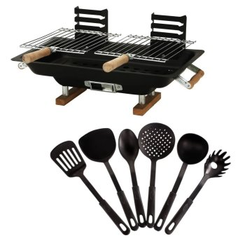 Hibachi Steel Charcoal BBQ Grill (Black) With Heat ResistancePlastic Ladle 6-piece set (Black) Price Philippines