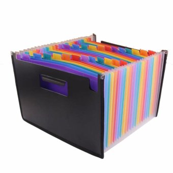 High Capacity Multicolour Stand Expandable Portable Accordion A4 File Folder Document Wallet Briefcase Plastic Business File Organizer Bag 24 Pockets - intl