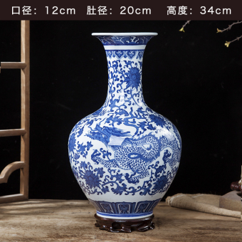 High-grade blue and white glazed vase ceramic porcelain