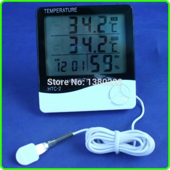 high quality LCD Digital Thermometer Hygrometer with Temperature and humidity Dual Sensors show indoor outdoor in same time - intl