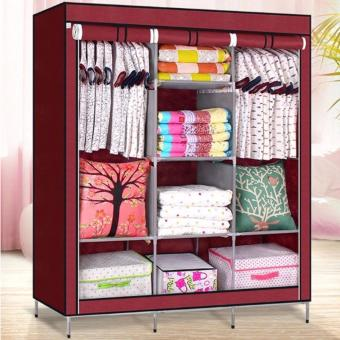 High Quality Multifunctional Wardrobe Storage Cabinet Dust CoverWaterproof (Maroon)