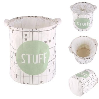 High Quality Store New 2017 Vogue Stuff Pattern Linen Cotton CanvasDesk Toy Storage Box Holder Laundry Basket Small Size - intl