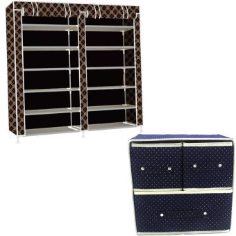 High Quality T-2712 Double Capacity 6 Layer Shoe Rack Shoe CabinetBlues Clues (Chocolate) With Foldable Woven Clothing Storage Box(Dotted Blue)